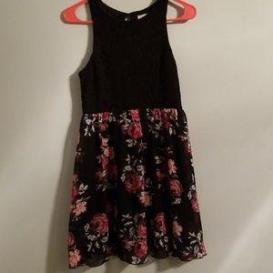 Dress, Black Lace Top w/ Sheer Floral Print